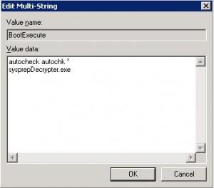 Eintrag von BootExecute in dem Registry Pfad